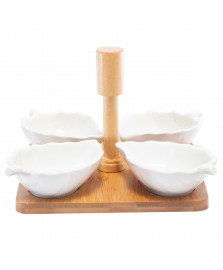 Conjunto de petisqueiras de porcelana leaves com suporte de bambu bon gourmet