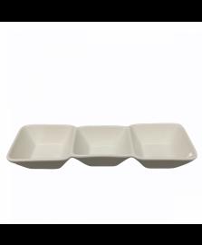 Petisqueira c/ 3 divisorias em porcelana l26,8xp8,8xa3,5cm dynasty