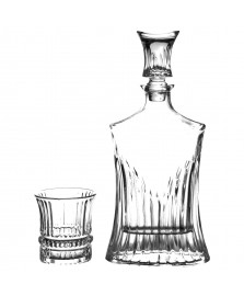 Garrafa de whisky e copos de cristal 7 pcs