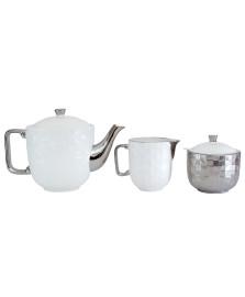 Conjunto para chá em porcelana vera silver