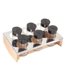 Conjunto porta condimentos essence madeira e inox domama