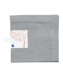 Jogo 02 guardanapos ponto ajour algodao luxo cinza claro 40 x 40 cm