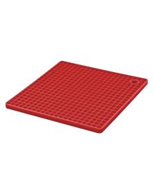 Descanso de panela quadrado silicone vermelho
