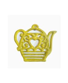 Descanso de panela de ferro bule heart amarelo