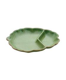 Folha decorativa de ceramica leaf verde 25 cm