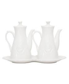 Galheteiro de porcelana super white queen 3 peças lyor