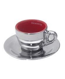 Jogo de 6 xícaras cromadas vermelha vice versa