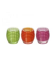 Jogo 03 castiçais vidro frizee rosa/laranja/verde