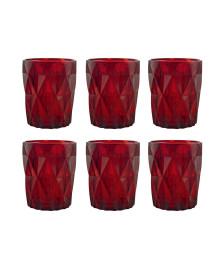 Jogo 06 copos drink vitral verre vermelho mimo