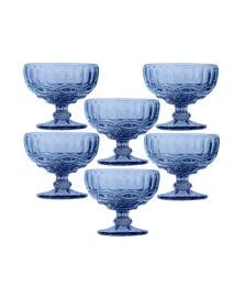 Jogo 06 taças sobremesa azul class home