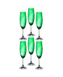 Jogo de 06 taças para champanhe anna verde 220 ml