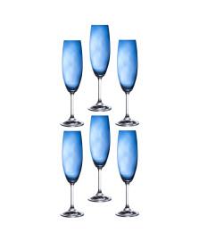 Jogo de 06 taças para champanhe anna azul 220 ml