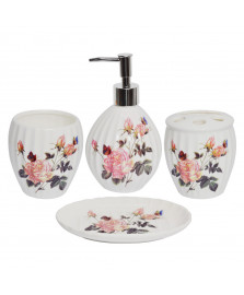 Jogo p/ banheiro 04 peças porcelana rosas