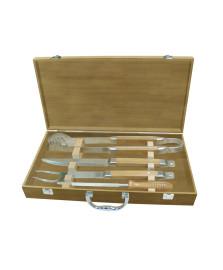 Jogo churrasco 04 peças com maleta madeira dynasty
