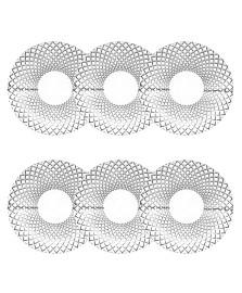 Jogo de 6 pratos para sobremesa grid transparente 20 cm bon gourmet