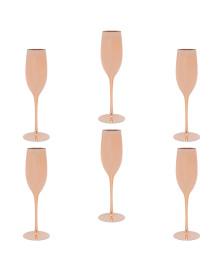 Jogo de 6 taças para champagne cobre lyor