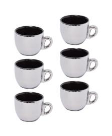 Jogo de 6 xicaras para café com suporte prata versa wolff