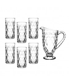 Jogo de jarra e 6 copos de vidro vitral verre mimo style