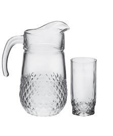 Jogo de jarra e copos em vidro samba pasabahce