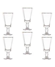 Jogo de taças para licor tulip em cristal com filete dourado 50ml 6 peças wolff