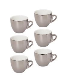 Jogo de xícaras de chá com pires porcelana prata versa 220 ml 12 peças wolff
