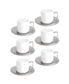 Cj 6 xicaras café porcelana silver 200 ml wolff