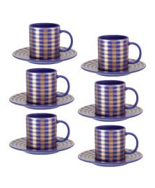 Jogo de xícaras para café com pires porcelana blue gold 100 ml 12 peças dm brasil