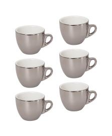 Jogo de xícaras para café com pires porcelana prata versa 90 ml 12 peças wolff