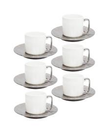 Jogo 6 xicaras café porcelana silver 80 ml wolff