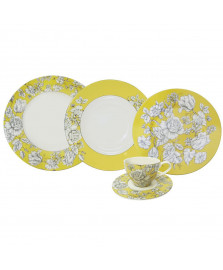 Jogo jantar 30 pç country toile yellow l hermitage