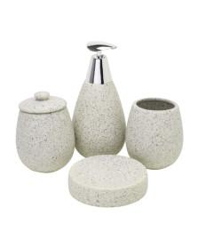 Jogo para banheiro 04 peças cerâmica stone prestige