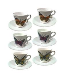 Jogo p/ café 12 peças borboletas coloridas dynasty