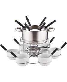 Jogo para fondue 23 peças branco ceramica e inox