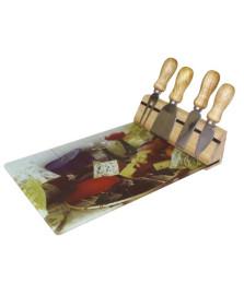 Jogo para queijo 4 peças tabua de vidro dynasty