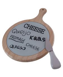 Jogo para queijo madeira c/vidro faca em inox