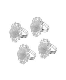 Jogo 04 argolas guardanapo aço inox flower prata