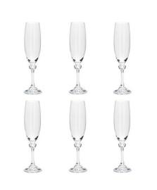 Conjunto 06 tacas de cristal ecologico para champagne elisa 220 ml