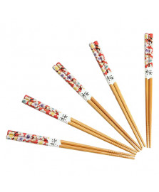 Kit hashi 5 pares red floral kyoto