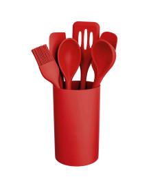 Kit utensílios 07 peças silicone vermelho euro