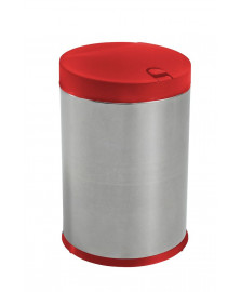 Lixeira 04 l inox com tampa vermelha press brinox