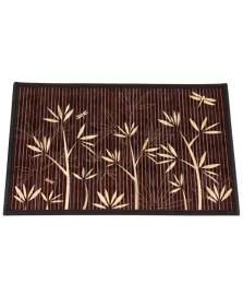 Lugar americano em bambu marron floral 45 cm mimo