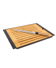 Migalheira de plástico e bambu com faca para pão lyor