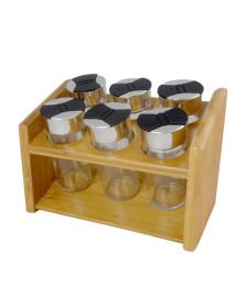 Porta condimentos vidro e suporte em bambu