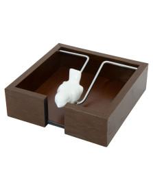 Porta guardanapo de madeira com passarinho 15 cm