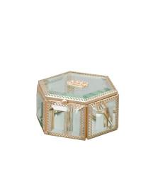 Porta jóias crown 12.5 cm vidro e zamac lyor