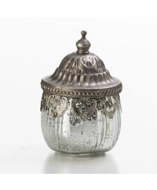 Porta objeto de vidro tampa cor prata 8 cm lyor