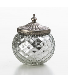 Porta objeto de vidro tampa em metal lyor