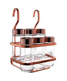 Porta temperos c/ suporte aço rosé gold future