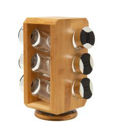 Porta temperos com suporte em bambu giratório 6 peças dynasty