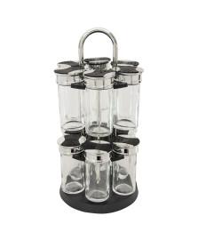 Porta temperos de vidro 13 peças com base giratória luigi bon gourmet